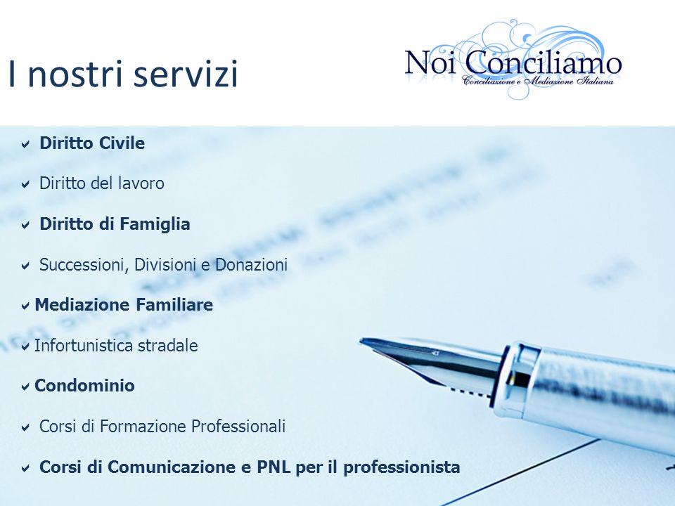 I nostri servizi Diritto Civile Diritto del lavoro Diritto di Famiglia Successioni, Divisioni e Donazioni Mediazione Familiare Infortunistica stradale
