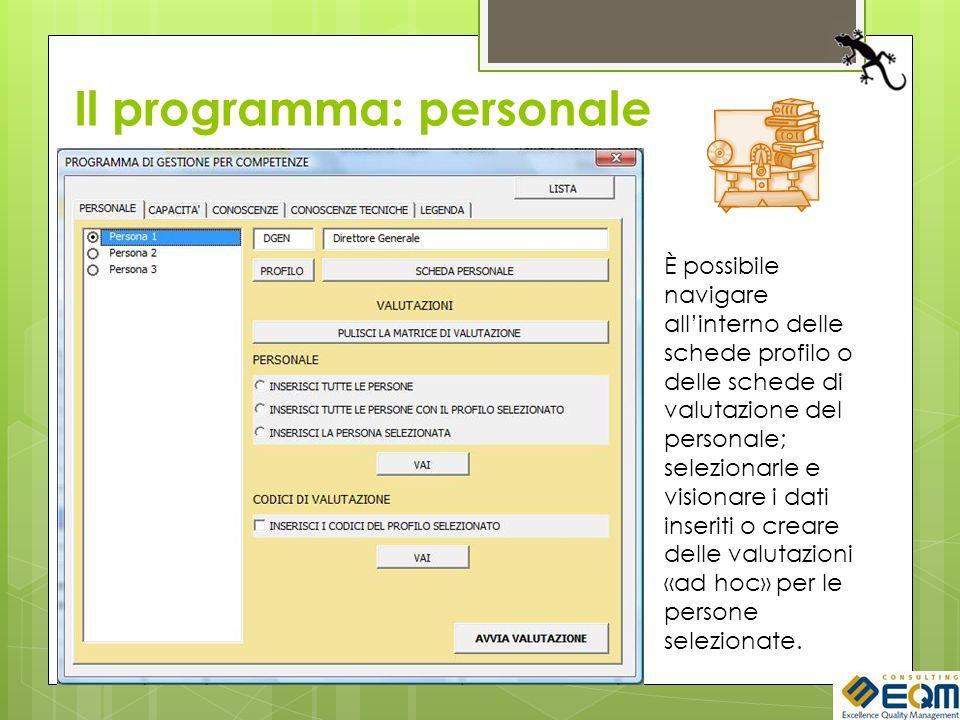 Il programma: personale È possibile navigare allinterno delle schede profilo o delle schede di valutazione del personale; selezionarle e visionare i d