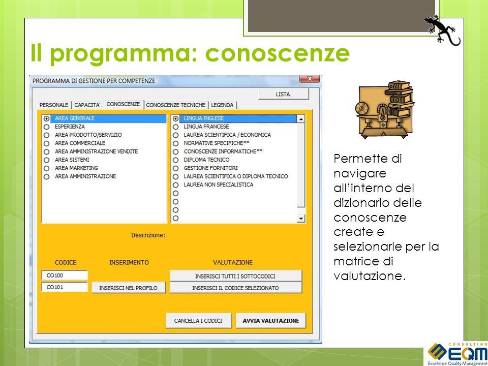 Il programma: conoscenze Permette di navigare allinterno del dizionario delle conoscenze create e selezionarle per la matrice di valutazione.