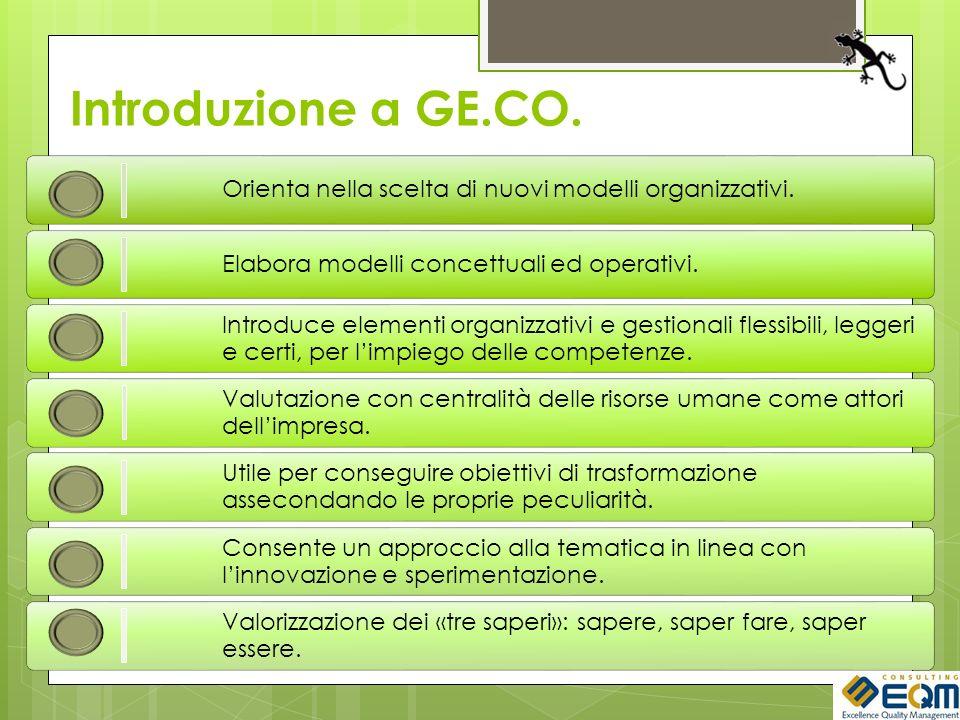 Introduzione a GE.CO. Orienta nella scelta di nuovi modelli organizzativi. Elabora modelli concettuali ed operativi. Introduce elementi organizzativi