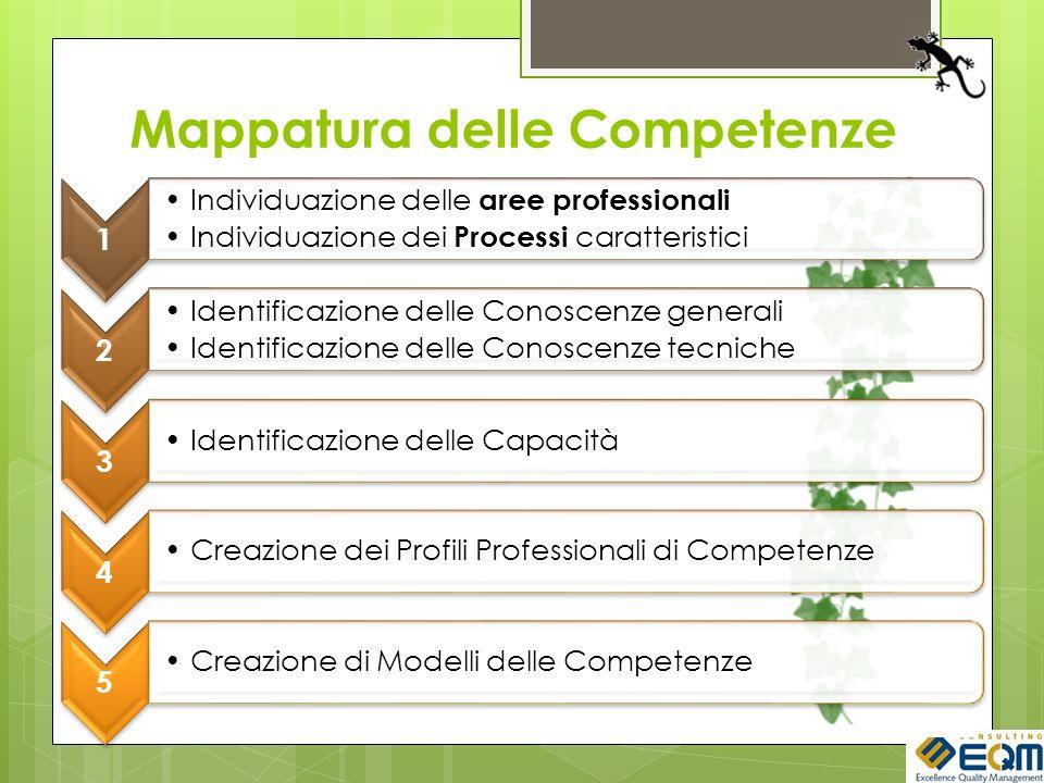 Mappatura delle Competenze 1 Individuazione delle aree professionali Individuazione dei Processi caratteristici 2 Identificazione delle Conoscenze generali Identificazione delle Conoscenze tecniche 3 Identificazione delle Capacità 4 Creazione dei Profili Professionali di Competenze 5 Creazione di Modelli delle Competenze