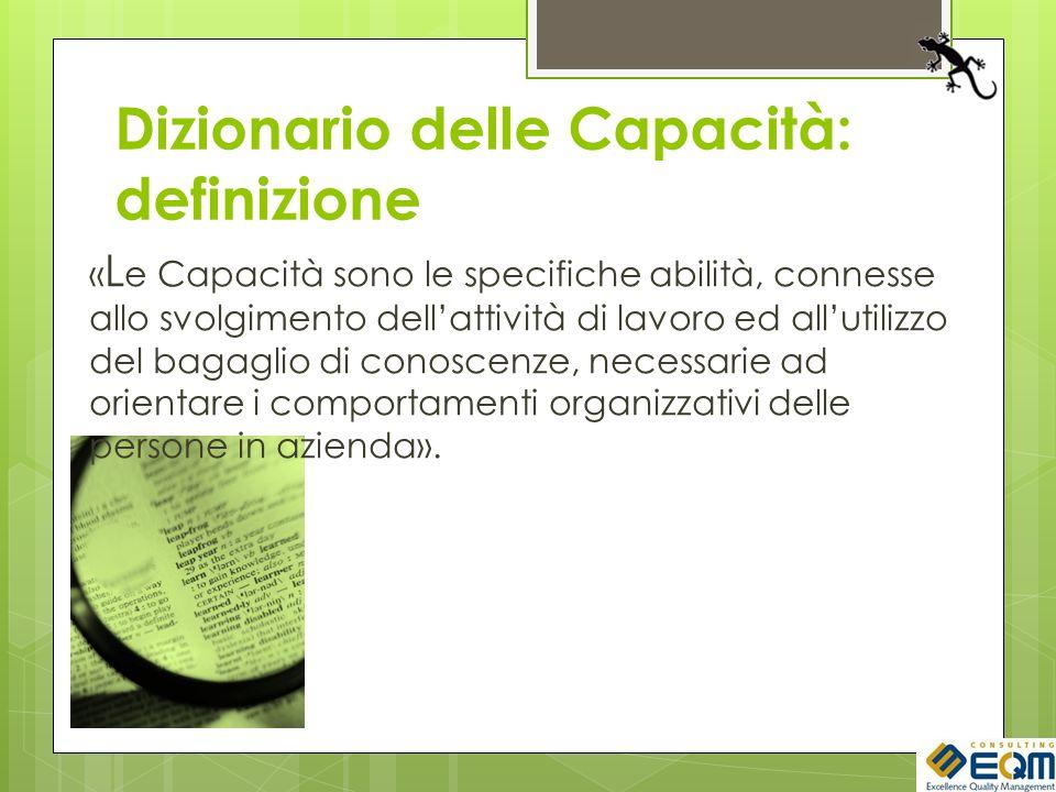 Dizionario delle Capacità: definizione « L e Capacità sono le specifiche abilità, connesse allo svolgimento dellattività di lavoro ed allutilizzo del