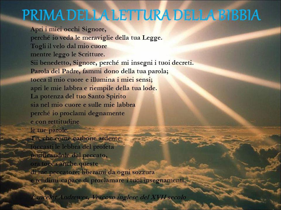 PRIMA DELLA LETTURA DELLA BIBBIA Apri i miei occhi Signore, perché io veda le meraviglie della tua Legge. Togli il velo dal mio cuore mentre leggo le