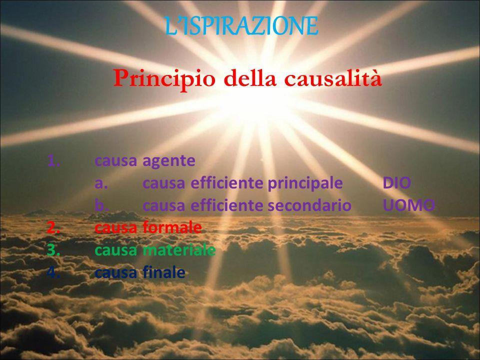 LISPIRAZIONE Principio della causalità 1. causa agente a.causa efficiente principaleDIO b.causa efficiente secondarioUOMO 2.causa formale 3.causa mate