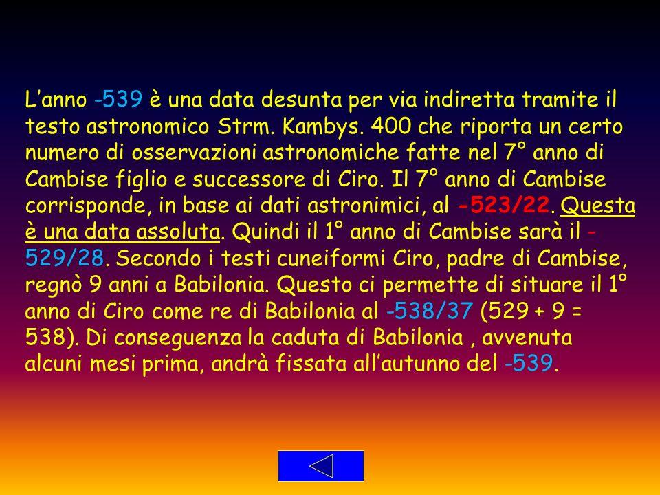 Lanno -539 è una data desunta per via indiretta tramite il testo astronomico Strm.