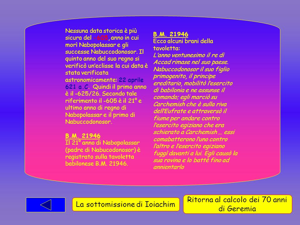 Nessuna data storica è più sicura del -605, anno in cui morì Nabopolassar e gli successe Nabuccodonosor.