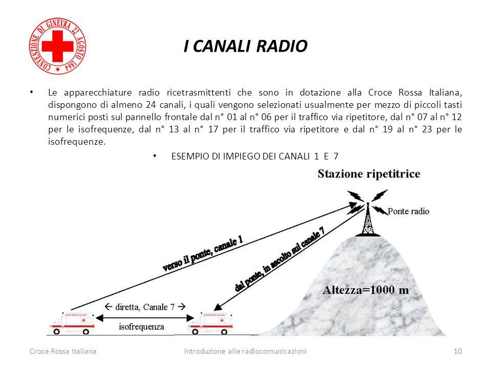 I CANALI RADIO Croce Rossa ItalianaIntroduzione alle radiocomunicazioni10 Le apparecchiature radio ricetrasmittenti che sono in dotazione alla Croce R
