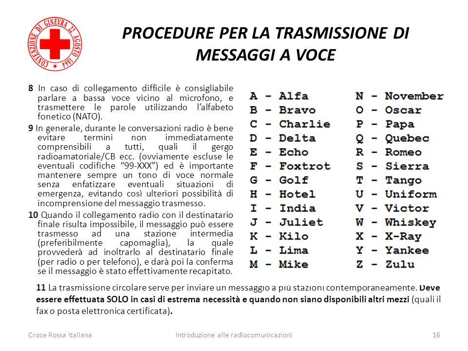 PROCEDURE PER LA TRASMISSIONE DI MESSAGGI A VOCE 8 In caso di collegamento difficile è consigliabile parlare a bassa voce vicino al microfono, e trasm
