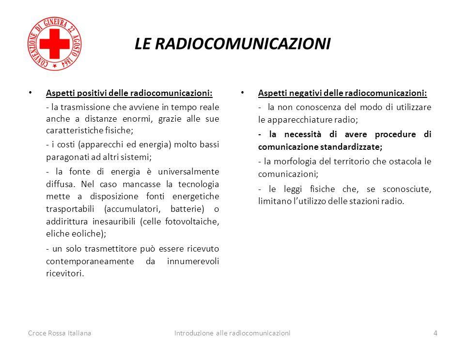 LE RADIOCOMUNICAZIONI Croce Rossa Italiana4Introduzione alle radiocomunicazioni Aspetti positivi delle radiocomunicazioni: - la trasmissione che avvie