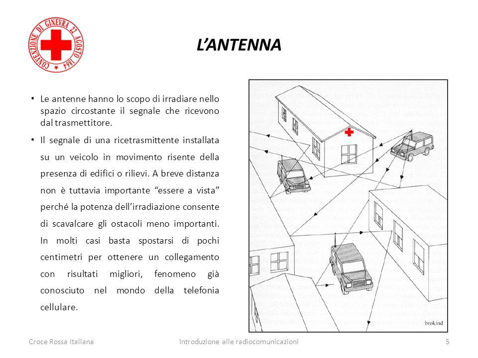 LANTENNA Croce Rossa ItalianaIntroduzione alle radiocomunicazioni5 Le antenne hanno lo scopo di irradiare nello spazio circostante il segnale che rice