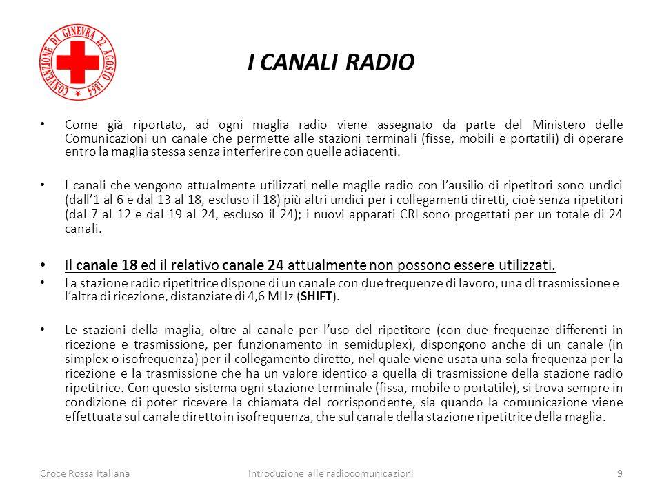 I CANALI RADIO Come già riportato, ad ogni maglia radio viene assegnato da parte del Ministero delle Comunicazioni un canale che permette alle stazion