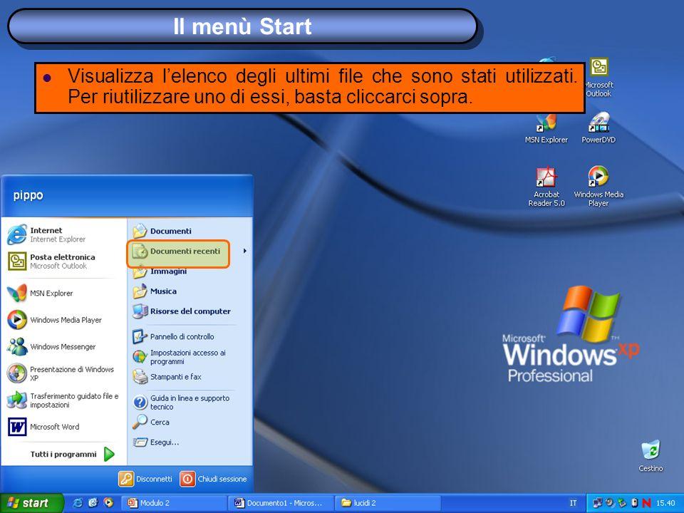 Il menù Start Visualizza lelenco degli ultimi file che sono stati utilizzati.