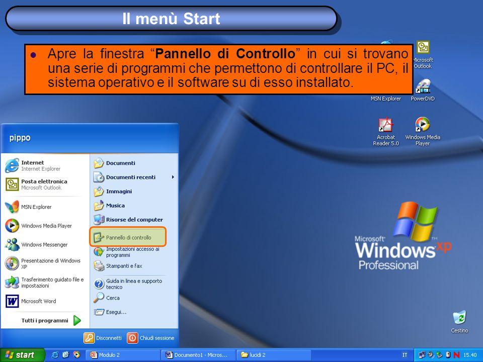 Il menù Start Apre la finestra Pannello di Controllo in cui si trovano una serie di programmi che permettono di controllare il PC, il sistema operativo e il software su di esso installato.