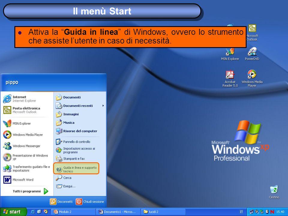 Il menù Start Attiva la Guida in linea di Windows, ovvero lo strumento che assiste lutente in caso di necessità.