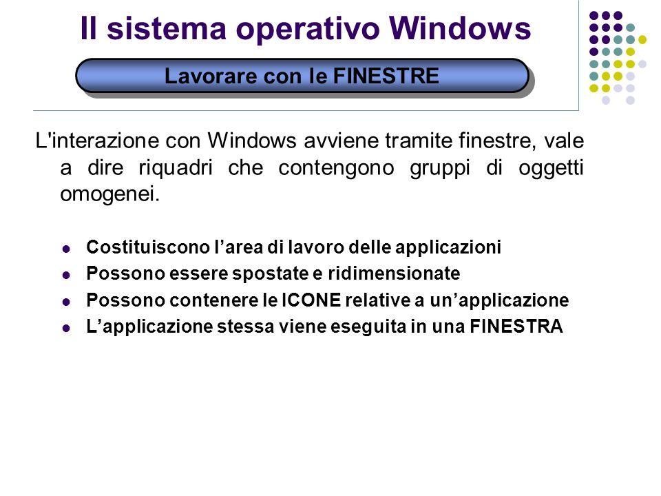 Lavorare con le FINESTRE Il sistema operativo Windows L interazione con Windows avviene tramite finestre, vale a dire riquadri che contengono gruppi di oggetti omogenei.