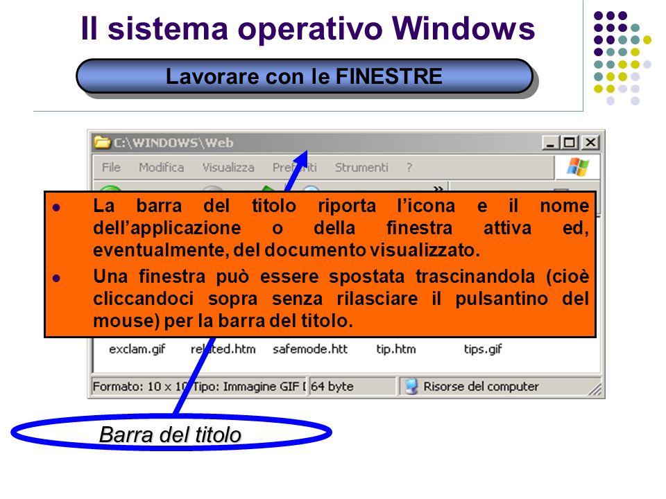 Lavorare con le FINESTRE Il sistema operativo Windows Barra del titolo La barra del titolo riporta licona e il nome dellapplicazione o della finestra attiva ed, eventualmente, del documento visualizzato.