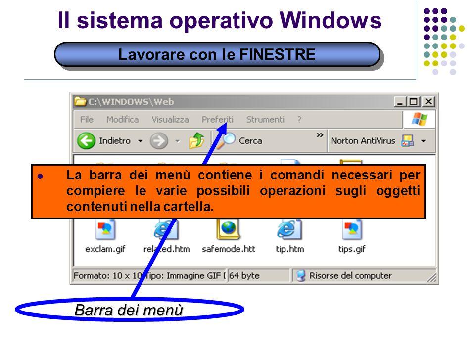 Lavorare con le FINESTRE Il sistema operativo Windows Barra dei menù La barra dei menù contiene i comandi necessari per compiere le varie possibili operazioni sugli oggetti contenuti nella cartella.