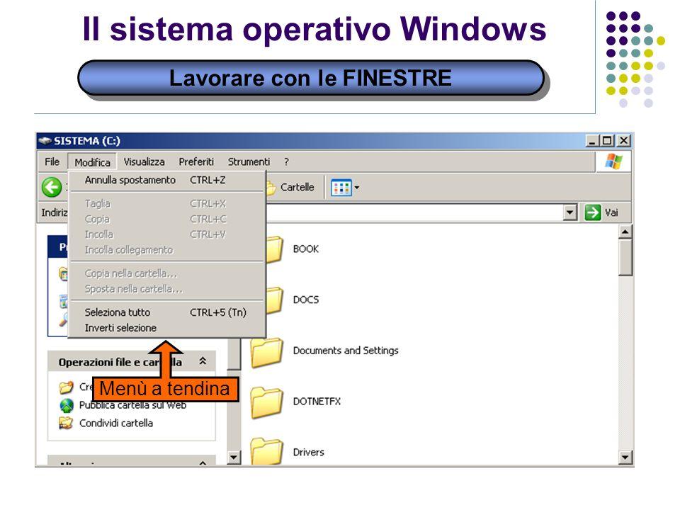 Lavorare con le FINESTRE Il sistema operativo Windows Menù a tendina