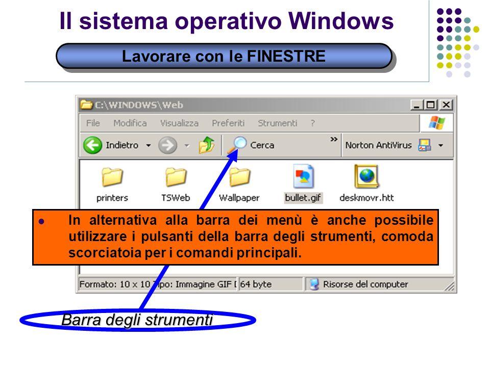 Lavorare con le FINESTRE Il sistema operativo Windows Barra degli strumenti In alternativa alla barra dei menù è anche possibile utilizzare i pulsanti della barra degli strumenti, comoda scorciatoia per i comandi principali.