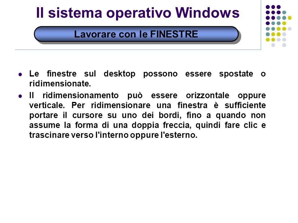 Lavorare con le FINESTRE Il sistema operativo Windows Le finestre sul desktop possono essere spostate o ridimensionate.