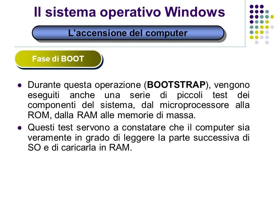 Il sistema operativo Windows Laccensione del computer Fase di BOOT Durante questa operazione (BOOTSTRAP), vengono eseguiti anche una serie di piccoli test dei componenti del sistema, dal microprocessore alla ROM, dalla RAM alle memorie di massa.