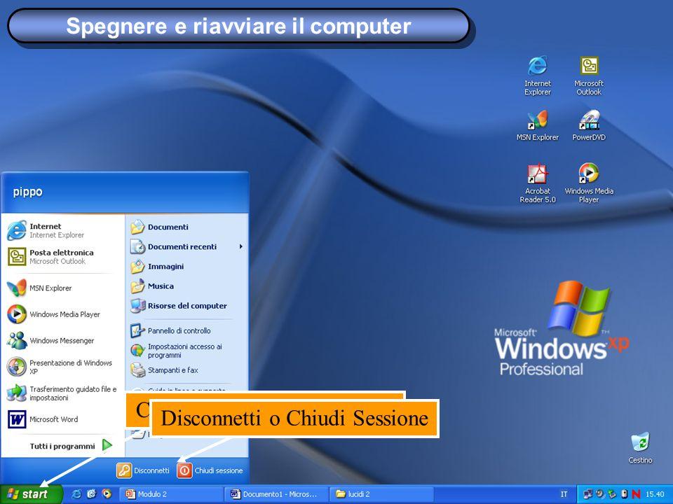 Spegnere e riavviare il computer Cliccare sul pulsante STARTDisconnetti o Chiudi Sessione