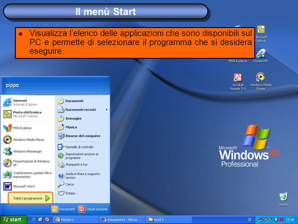 Il menù Start Visualizza lelenco delle applicazioni che sono disponibili sul PC e permette di selezionare il programma che si desidera eseguire.