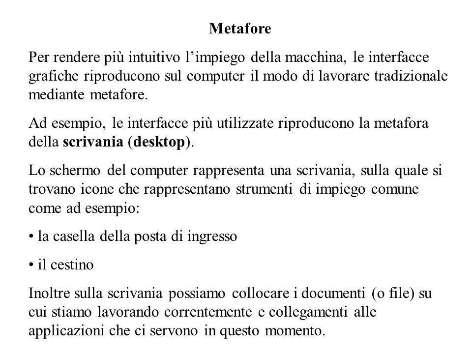 Metafore Per rendere più intuitivo limpiego della macchina, le interfacce grafiche riproducono sul computer il modo di lavorare tradizionale mediante metafore.