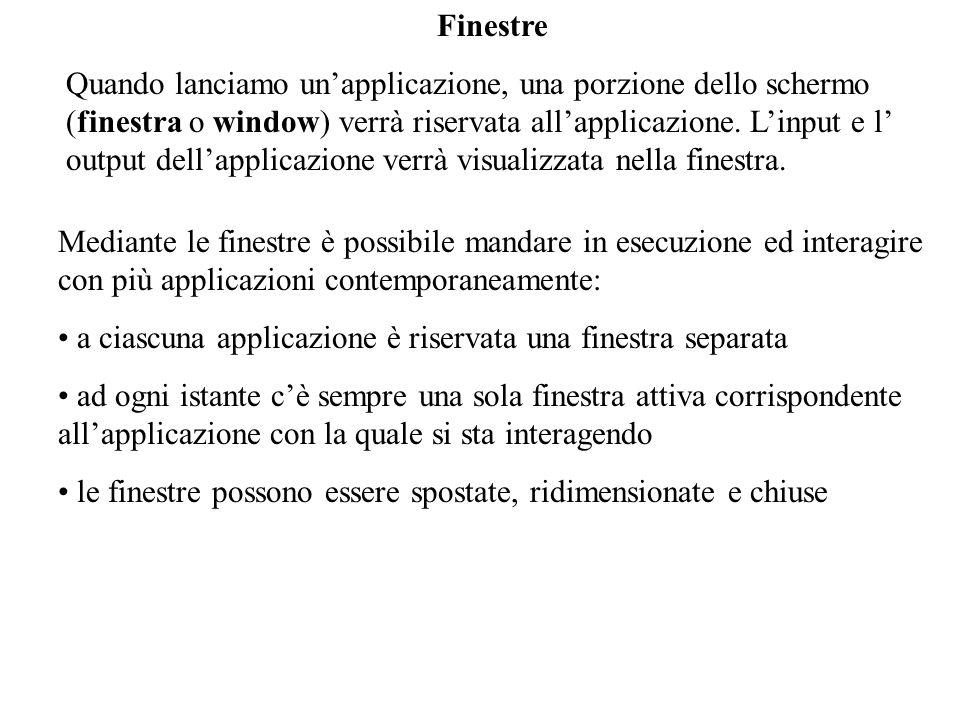 Finestre Quando lanciamo unapplicazione, una porzione dello schermo (finestra o window) verrà riservata allapplicazione.
