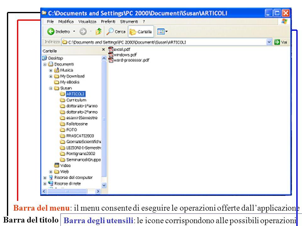 Per selezionare gruppi di file: Per spostare, copiare e cancellare più di un file alla volta, è possibile selezionare gruppi di file selezione di un gruppo di file contigui: selezionare il primo file e, tenendo premuto il tasto shift, selezionare lultimo file del gruppo selezione di un gruppo di file non contigui: selezionare i file uno per uno tenendo premuto il tasto control, selezionare lultimo file del gruppo Aiuto: Si può ottenere aiuto premendo F1 o selezionando Help dal Menu Start