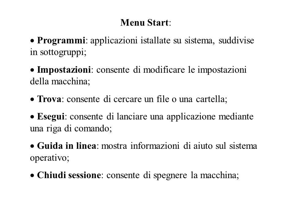 File system: in Windows tutte le risorse della macchina sono viste attraverso il file system, che può essere esplorato aprendo licona Risorse del computer.