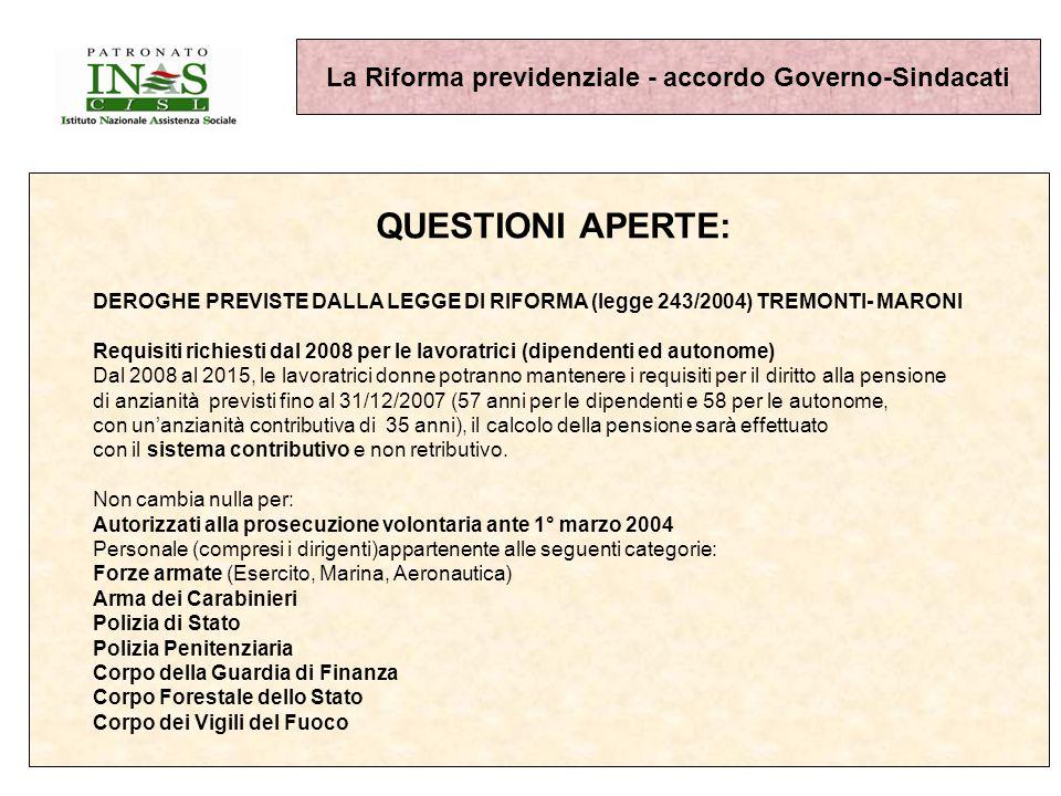 La Riforma previdenziale - accordo Governo-Sindacati QUESTIONI APERTE: DEROGHE PREVISTE DALLA LEGGE DI RIFORMA (legge 243/2004) TREMONTI- MARONI Requisiti richiesti dal 2008 per le lavoratrici (dipendenti ed autonome) Dal 2008 al 2015, le lavoratrici donne potranno mantenere i requisiti per il diritto alla pensione di anzianità previsti fino al 31/12/2007 (57 anni per le dipendenti e 58 per le autonome, con unanzianità contributiva di 35 anni), il calcolo della pensione sarà effettuato con il sistema contributivo e non retributivo.