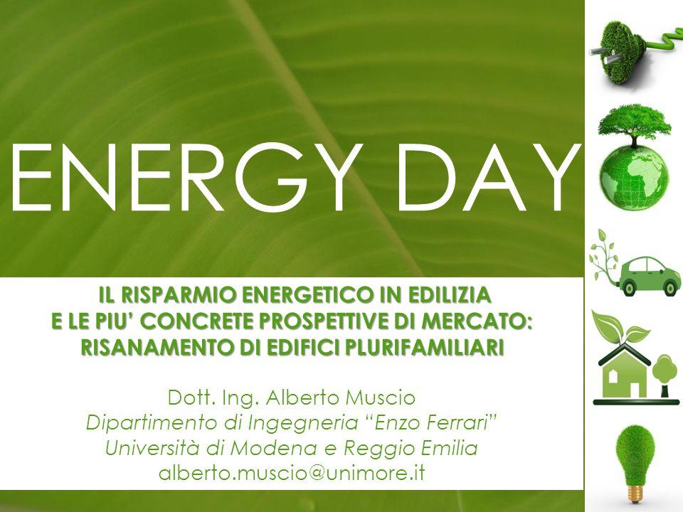 ENERGY DAY IL RISPARMIO ENERGETICO IN EDILIZIA IL RISPARMIO ENERGETICO IN EDILIZIA E LE PIU CONCRETE PROSPETTIVE DI MERCATO: RISANAMENTO DI EDIFICI PLURIFAMILIARI Dott.