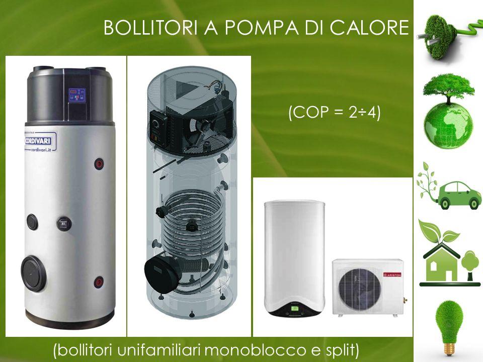 BOLLITORI A POMPA DI CALORE (bollitori unifamiliari monoblocco e split) (COP = 2÷4)