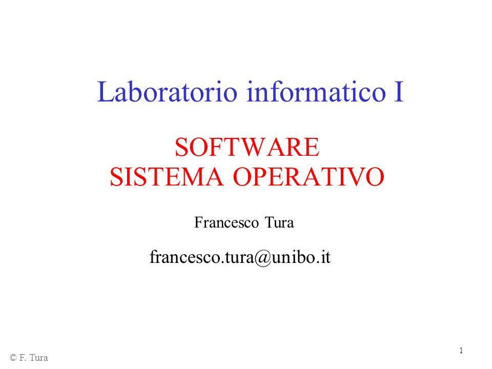 1 Laboratorio informatico I SOFTWARE SISTEMA OPERATIVO Francesco Tura francesco.tura@unibo.it © F. Tura