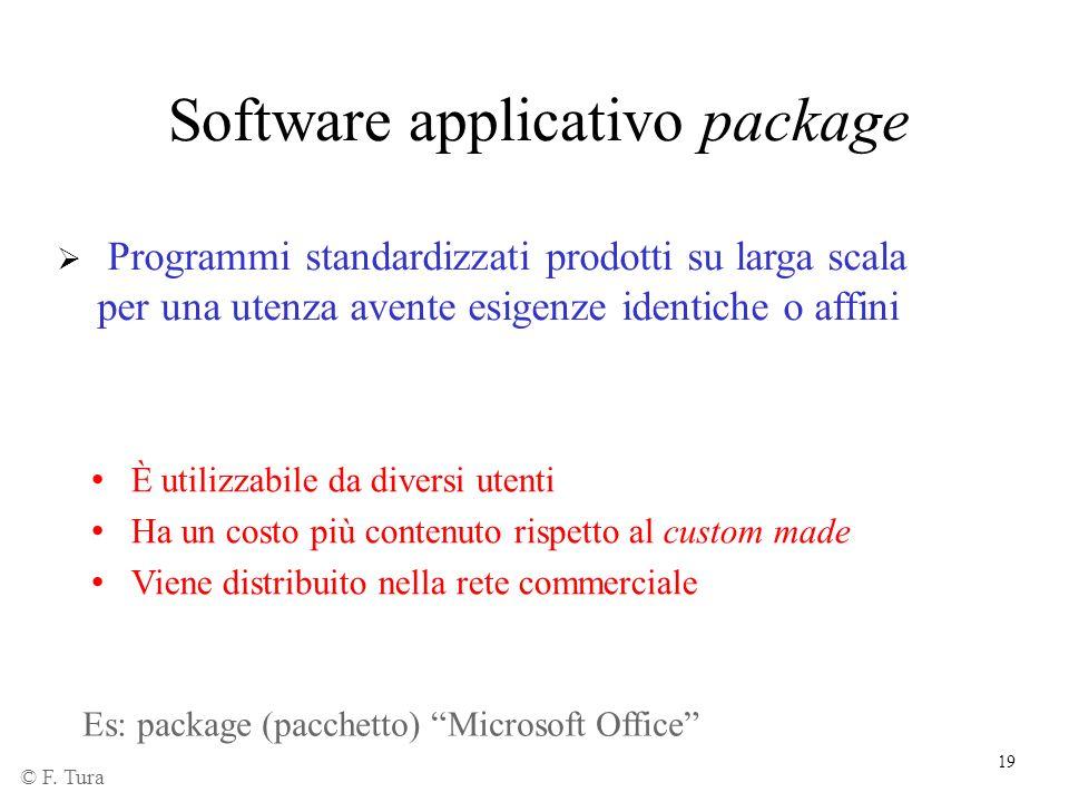 19 Software applicativo package Programmi standardizzati prodotti su larga scala per una utenza avente esigenze identiche o affini È utilizzabile da d
