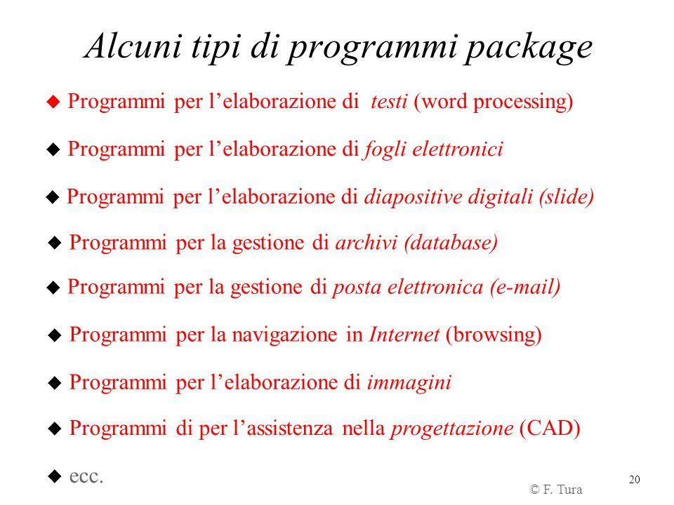 20 Alcuni tipi di programmi package u Programmi per lelaborazione di testi (word processing) u Programmi per lelaborazione di fogli elettronici u Prog