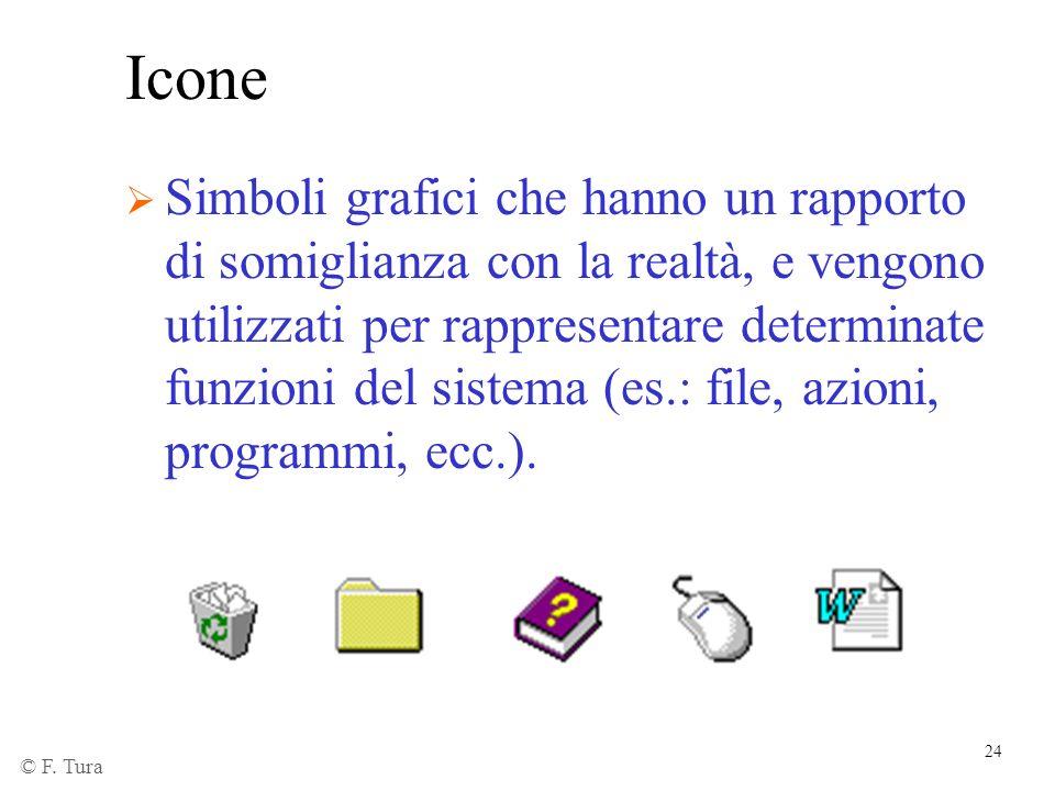 24 Icone Simboli grafici che hanno un rapporto di somiglianza con la realtà, e vengono utilizzati per rappresentare determinate funzioni del sistema (