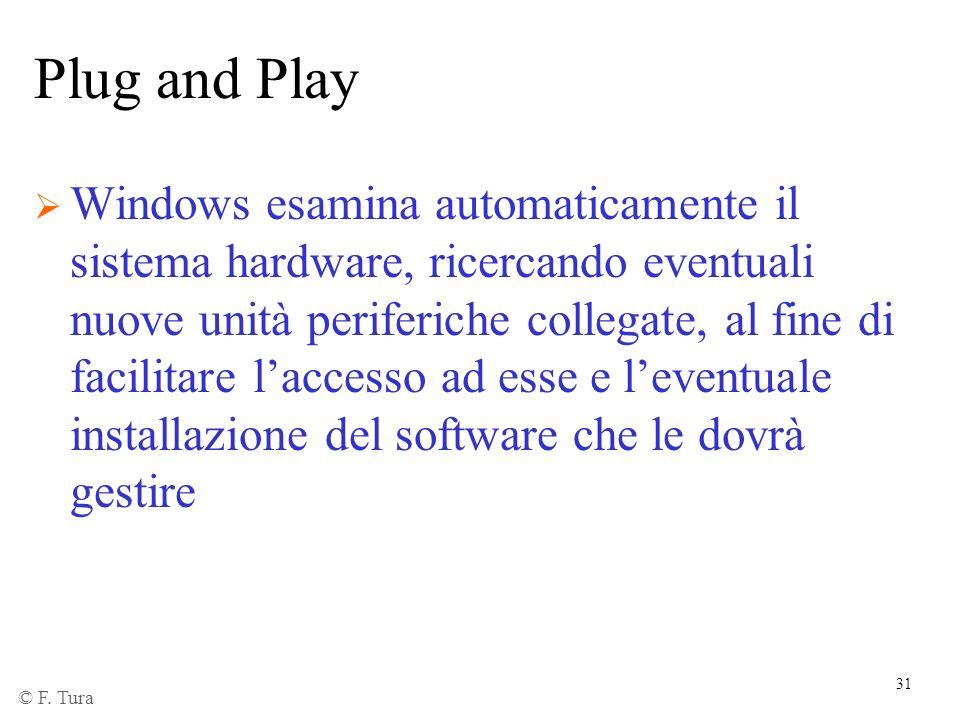 31 Plug and Play Windows esamina automaticamente il sistema hardware, ricercando eventuali nuove unità periferiche collegate, al fine di facilitare la