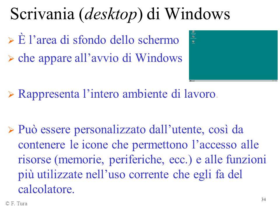 34 Scrivania (desktop) di Windows È larea di sfondo dello schermo che appare allavvio di Windows Rappresenta lintero ambiente di lavoro. Può essere pe