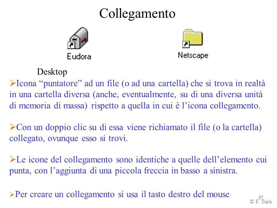 37 Collegamento Desktop Icona puntatore ad un file (o ad una cartella) che si trova in realtà in una cartella diversa (anche, eventualmente, su di una