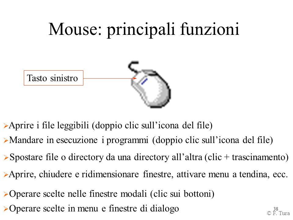 38 Mouse: principali funzioni Tasto sinistro Aprire, chiudere e ridimensionare finestre, attivare menu a tendina, ecc. Mandare in esecuzione i program