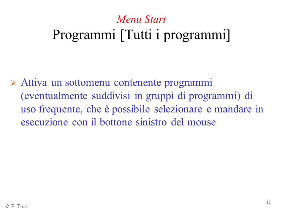 42 Menu Start Programmi [Tutti i programmi] Attiva un sottomenu contenente programmi (eventualmente suddivisi in gruppi di programmi) di uso frequente
