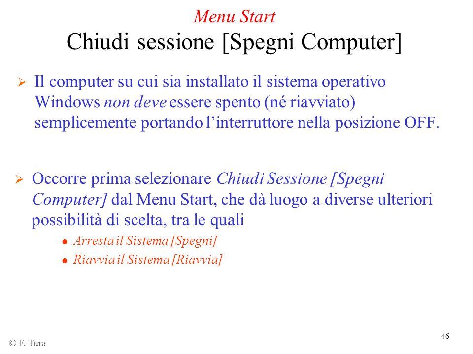 46 Menu Start Chiudi sessione [Spegni Computer] Il computer su cui sia installato il sistema operativo Windows non deve essere spento (né riavviato) s