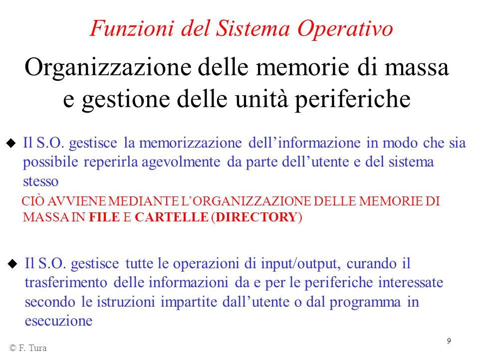 9 Funzioni del Sistema Operativo Organizzazione delle memorie di massa e gestione delle unità periferiche u Il S.O. gestisce la memorizzazione dellinf