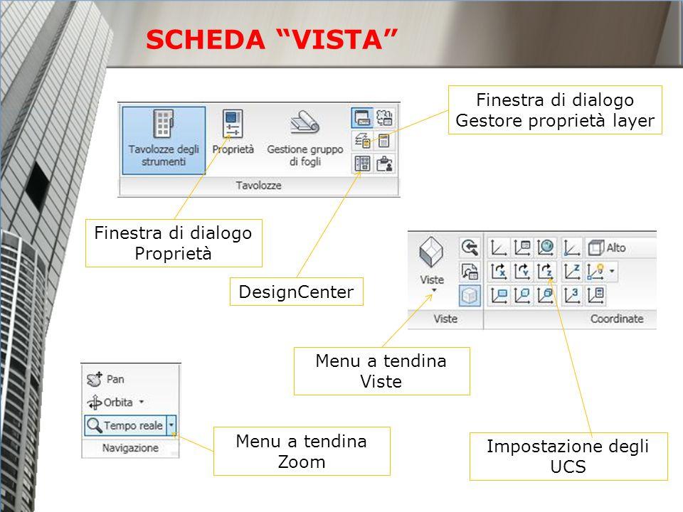 SCHEDA VISTA Finestra di dialogo Gestore proprietà layer Finestra di dialogo Proprietà Impostazione degli UCS Menu a tendina Viste Menu a tendina Zoom