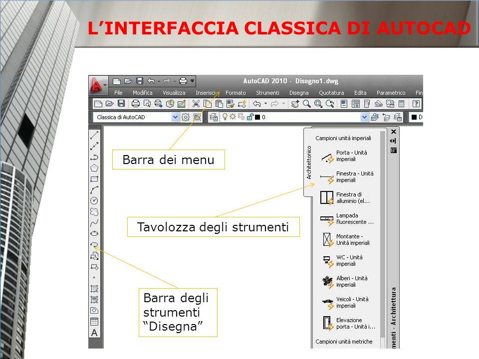 Barra degli strumenti Disegna Barra dei menu Tavolozza degli strumenti LINTERFACCIA CLASSICA DI AUTOCAD