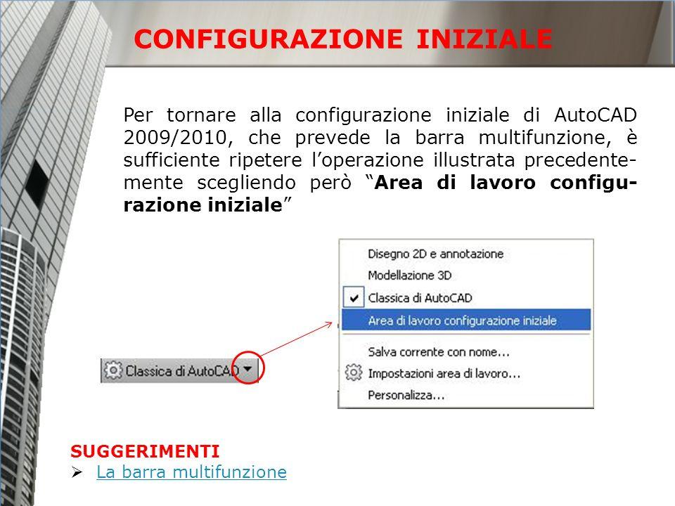 Per tornare alla configurazione iniziale di AutoCAD 2009/2010, che prevede la barra multifunzione, è sufficiente ripetere loperazione illustrata prece
