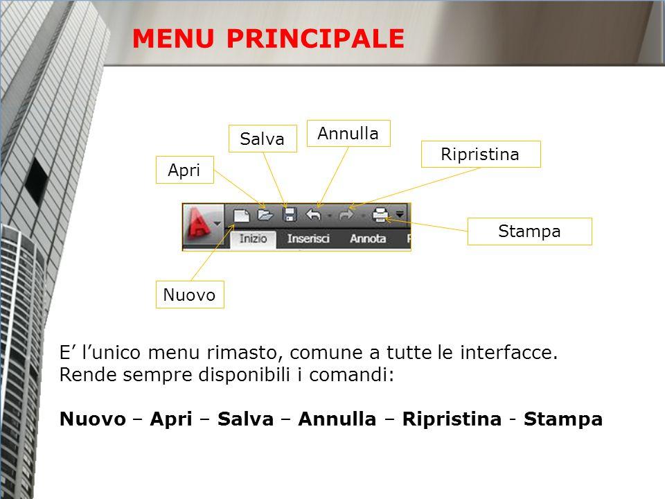 MENU PRINCIPALE E lunico menu rimasto, comune a tutte le interfacce. Rende sempre disponibili i comandi: Nuovo – Apri – Salva – Annulla – Ripristina -