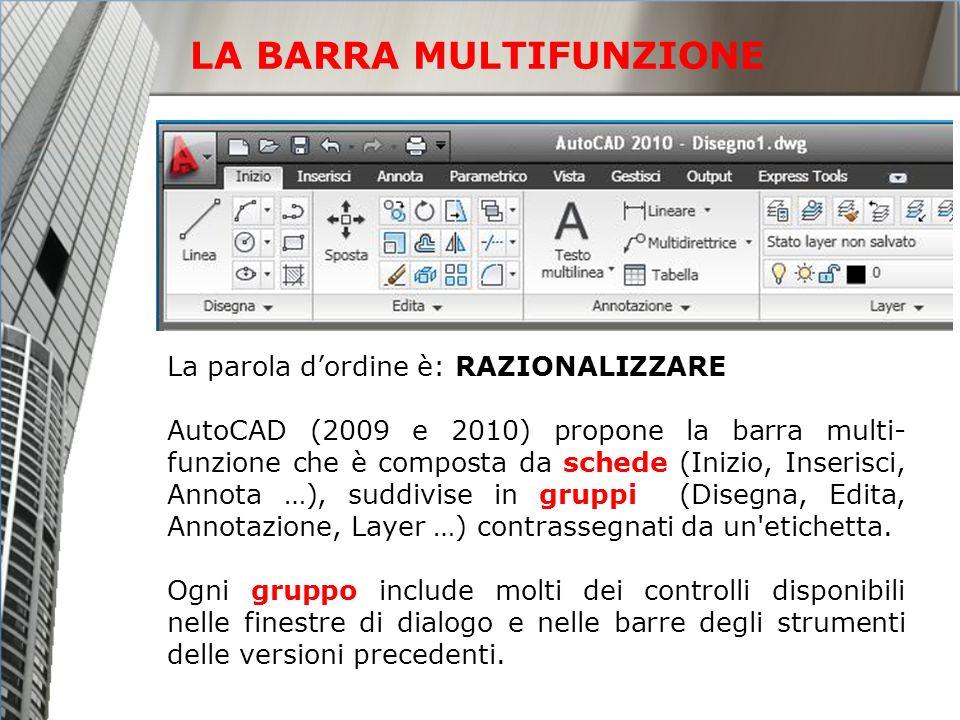 LA BARRA MULTIFUNZIONE La parola dordine è: RAZIONALIZZARE AutoCAD (2009 e 2010) propone la barra multi- funzione che è composta da schede (Inizio, In